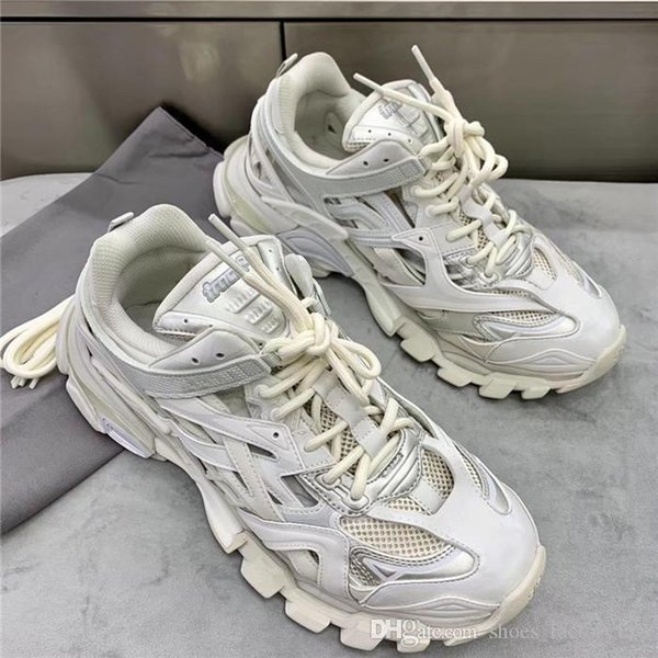 Unisex Track.2 Sneaker with Pure white,Fashion Women Mens Designer Sneakers Hiking Boots Complex multi-part combination Leather