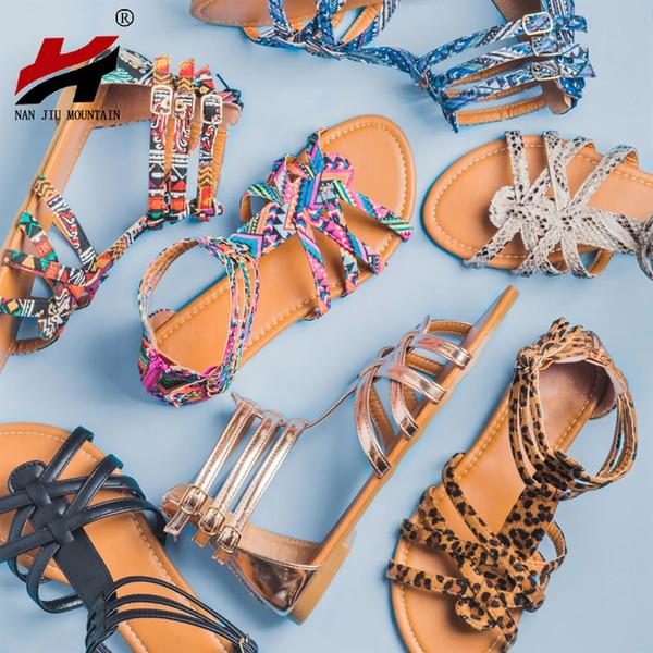 84d7bc523 17) NAN JIU MOUNTAIN 2019 Summer Flat Sandals Celebrity Style Bohemian Women's  Shoes Leisure Plus Size 35-43