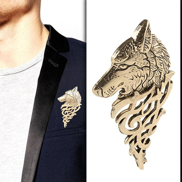 1 Pc Charming Vintage Men Punk Wolf Badge Brooch Lapel Pin Shirt Suit Collar Jewelry Gift For Men Summer Wear Nice Gift