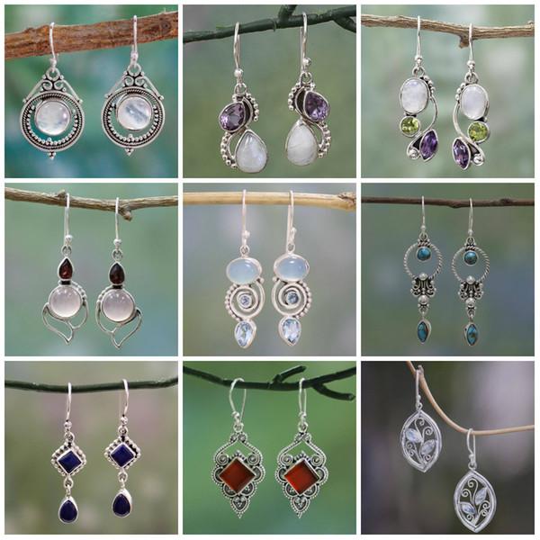 Topacio Pendientes Cristal Gota de agua Espiral Flor Pendientes Anillos de oído Retro Cuelga Araña Mujeres Joyería de moda Regalo de San Valentín Barco de la gota