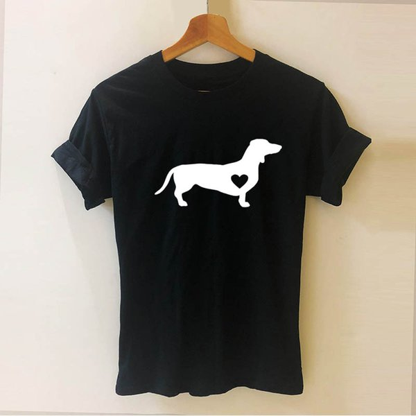 Dachshund Dog Wiener Letters Printed Animal T Shirt Funny Teeshirt Women Clothing Casual Short Sleeve Tops Tees