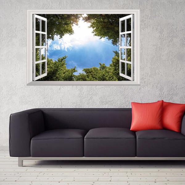 3D Yanlış Pencere Ekranları Ağaç Gökyüzü Duvar Çıkartmaları Ev Dekor Oturma Odası Sanat Mural Vinil Çıkarılabilir Sahte Pencere Görünüm Poster Çıkartmaları