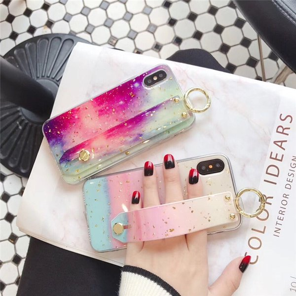 Gold foil marble phone ca e for iphone x max x xr 8 7 6 plu cover fa hion wri t tand ca e luxury candy color capa