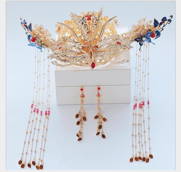 Headwear New Chinese Wedding Garment Phoenix Crown Hair Ornament Retro-ancient Wedding Atmospheric Dragon and Phoenix Wear Accessories