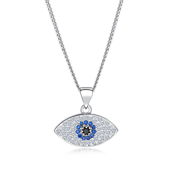 2019 Lucky Evil Eye Pendant Necklace Women 18K Gold Plated Platinum chains Zircon Turkish Jewelry Turkey Blue Eyes Charm Necklaces
