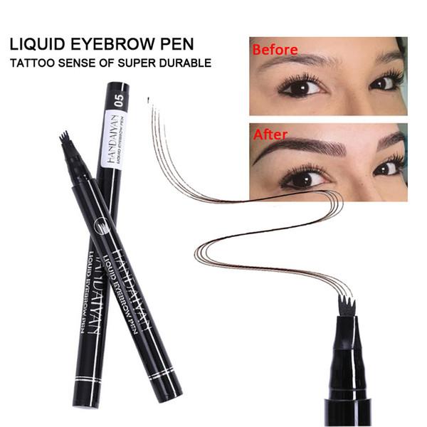HANDAIYAN Augenbrauenstift Microblading Augenbrauen Tattoo Stift Wasserdichte Gabelspitze Feiner Skizzen Microblading Bleistift Flüssiges Augenbrauenstift Make-up