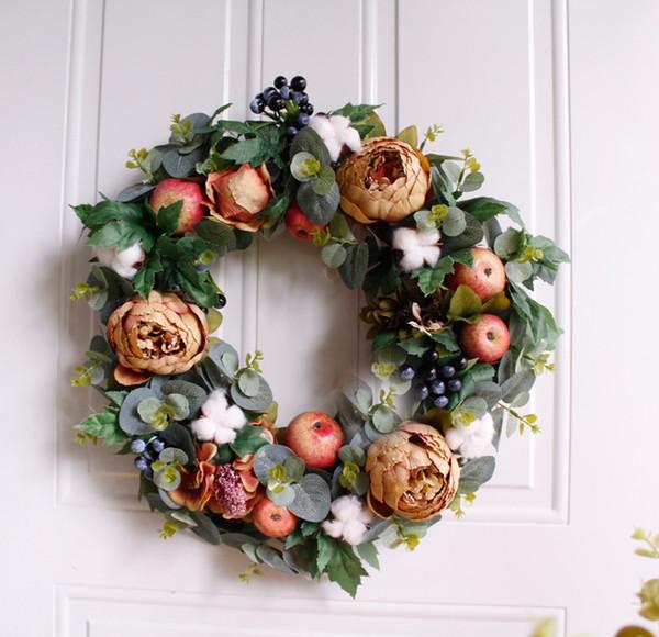 Christmas Garlands.2019 Heap Wreaths Amp Garlands 42cm Christmas Wreath Fall Peony Decorations Door Wreath Wall Hanging Garland Artificial Flowers Home Wedding From