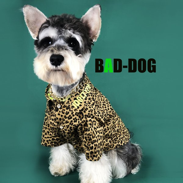 Dog leopard shirt tide brand Teddy Schnauzer law fighting Bago Bomei cat pet spring and summer thin section clothes