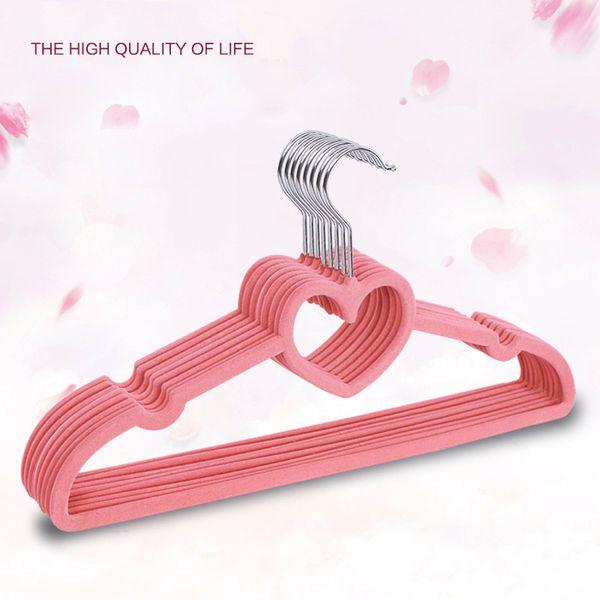 Non-Slip Ultra-Thin Clothes Hangers Heart-Shaped Flocking Hanger Portable Drying Rack Hanger Home Clothing Organizer