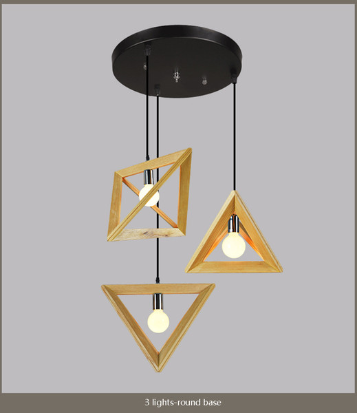 American Country Geometric Solid Wood Lamp Clothing Store Restaurant Creative Personality Wood Lamp Triangle Wood Frame Pendant Lights Ceiling Pendant