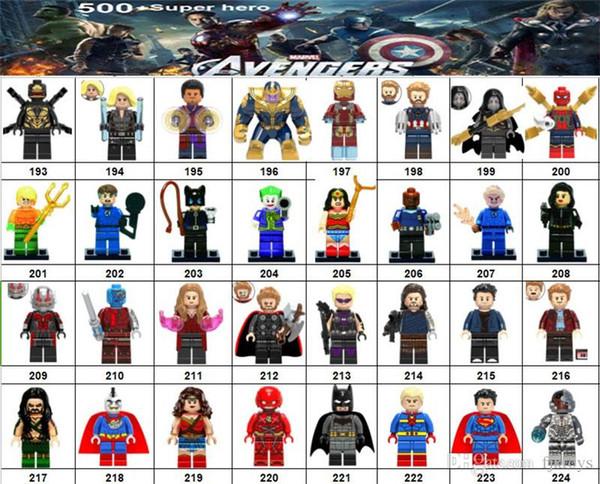 Wholsale Super hero Mini Figures Marvel Avengers DC Justice League Wonder woman Deadpool Batman Harley Quinn building blocks kids gifts