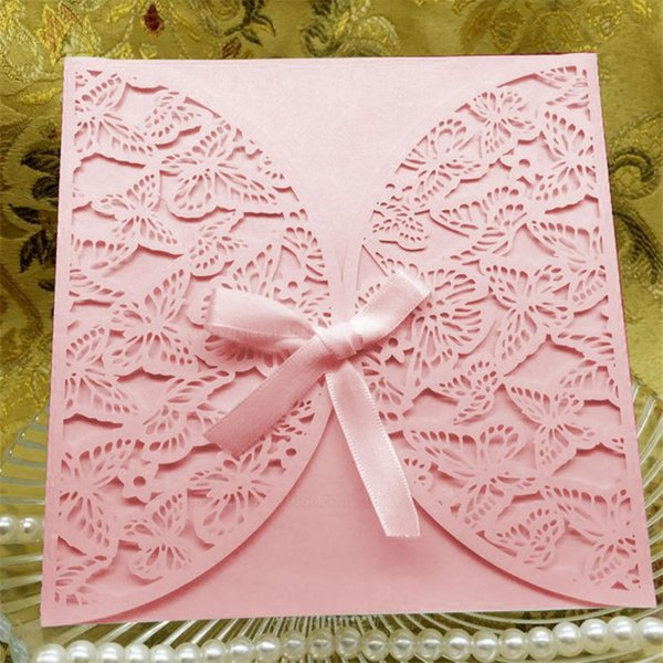 1PCS Gold Red White Laser Cutting Luxury Wedding Invitations Elegant Lace Card Favor Print Envelopes Party Wedding Decorations