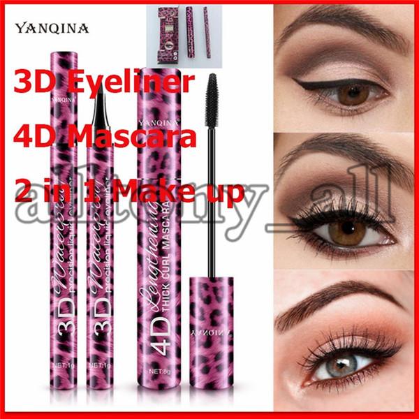 best selling 2020Eye Makeup Set 2 in 1 Mascara eyeliner 4D THICK CURL 36H liquid eyeliner Long-lasting Waterproof type Lengthening Cruling Christmas Gift