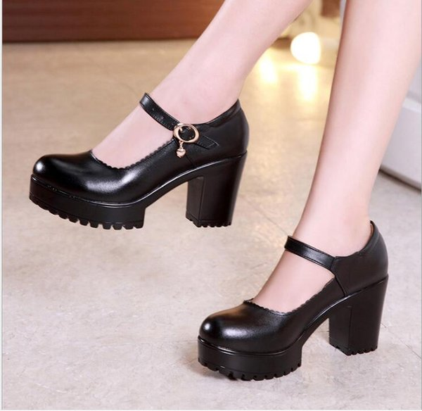 Hot 2019 Autumn Vintage Womens Chunky Block High Heel Platform Ankle Strap Buckle Pumps Punk Shoes Plus Size Black White