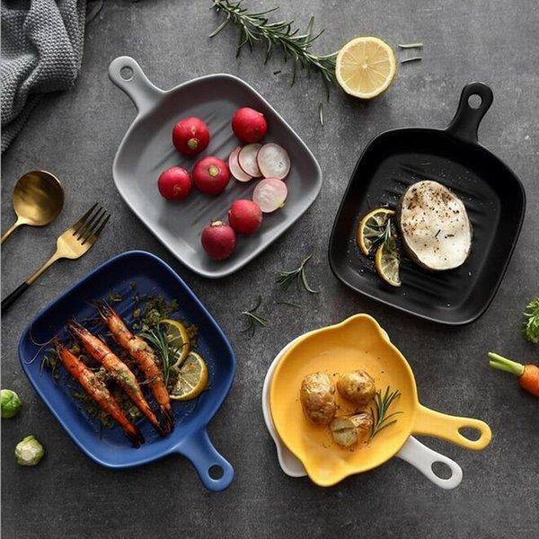 Seramik Tek Bakeware Mat Camlı Kare Kolu Pişirme Mantı Çanak Ev Fırın Mikrodalga Çatal Pişirme Pan Tepsi Meyve Salatası Makarna