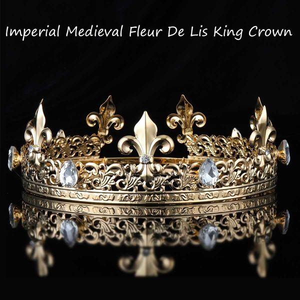 Hommes impériale médiévale or roi complet tour complet couronne diadème cristal strass réglable Fleur De Lis décor Diadem Costumes de fête C19022201