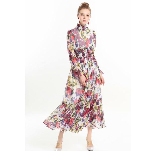 Compre Diseñador De Calidad Superior Runway Maxi Vestido 2019 Moda Primavera Mujer Manga Larga Estampado Floral De Seda Gasa Vestido Largo Bohemio