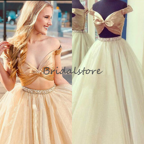 Crop Top Two Piece Prom Dresses Sexy Gold Off Shoulder Puffy Tulle Formal Party Dress Beaded Floor Length Fitted Evening Gowns 2019 Cheap