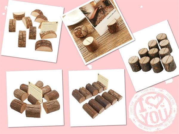 Portacarte Tree Stump Place Titolare 4 Styles Wood Slice Stile rustico Photo Clip Decorazioni in legno naturale