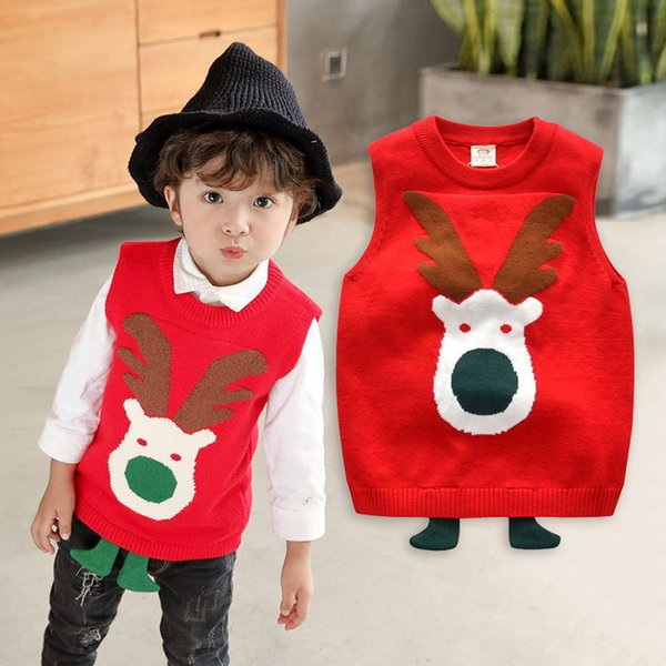 Christmas Vest for Boys Girls Children Sweater Christmas deer 2018 Sleeveless Top Bebe Kids Knitwear Clothes for 4 5 6 7 8 Years