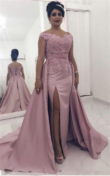Pink V Neck Evening Prom Dress Satin Straps Applique With Train Corset Back Mother of the bride dress Formal Gowns custom Size