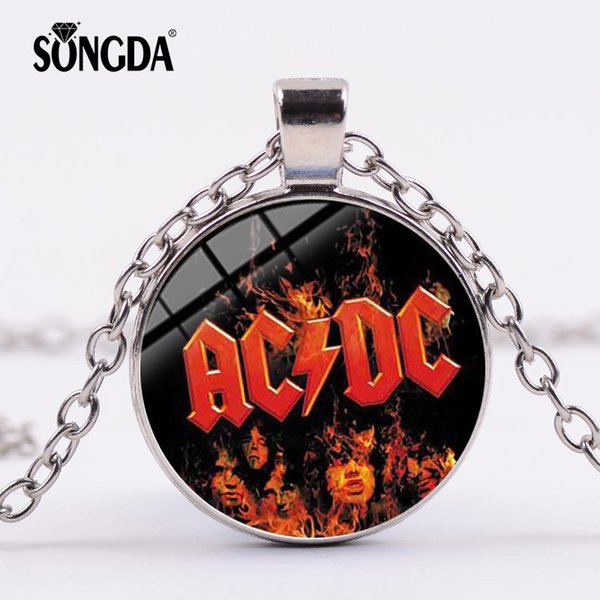 SONGDA Popular Rock Band AC/DC Red Sign Necklace Rock and Roll ACDC Silver Color Glass Dome Pendant Choker Jewelry Music Lovers