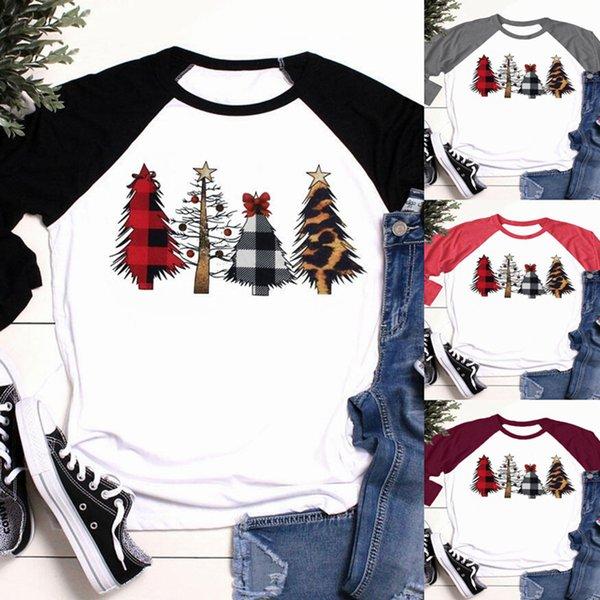 T navidad camisa de las mujeres del árbol de navidad más de tres cuartos de la manga 2019 otoño invierno Tee Shirts manga raglán