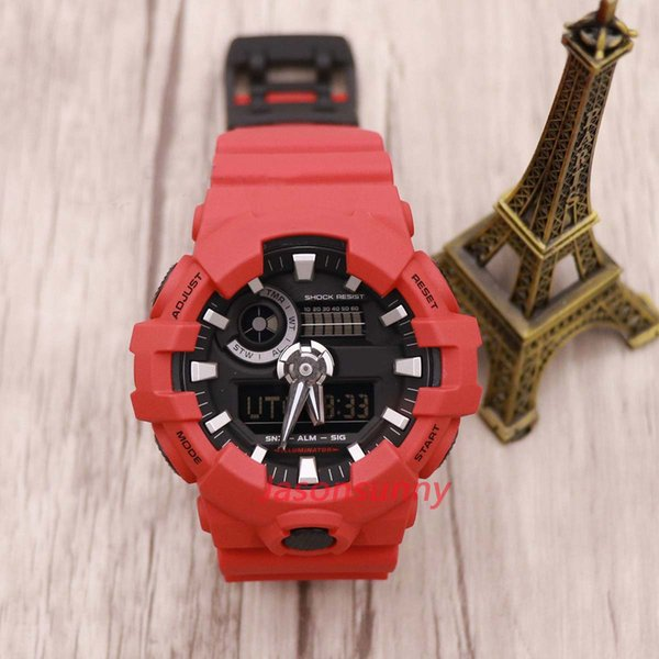 Mens Summer GA700 Sports Red Watches LED Waterproof LED Digital Shock Men Watch All Pointer ga700 Work Box free Shipping