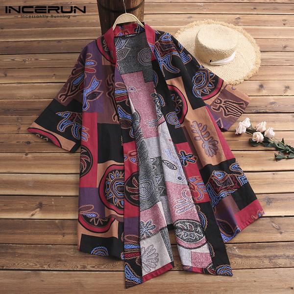 Ethnic Kimono Cloak Cardigan Ethnic Mens Trench Cloak Half Sleeve Shirt Tops Hombre Camisa Fashion Men Clothing Big Size 5XL