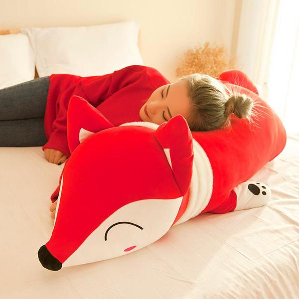 Nuevo creativo animal zorro rojo muñeca de peluche de juguete zorro suave almohada para dormir regalo de cumpleaños de niña grande 90 cm 120 cm