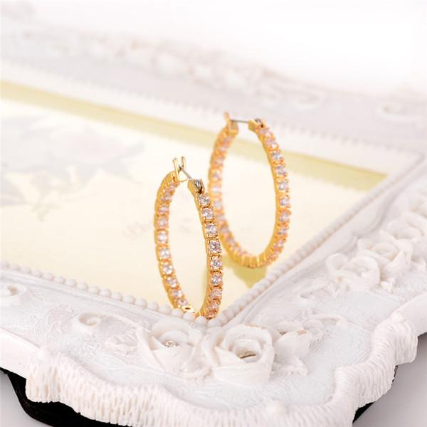Popular circón aretes de moda de las mujeres establece Shinning plata círculo de oro pendientes redondos para bodas partes joyería nupcial CPA1871