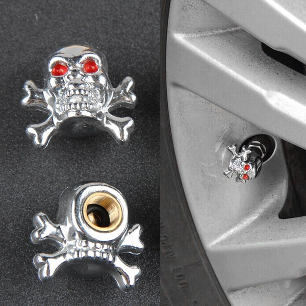 best selling Sliver Universal Fancy Pirate Skull Tire Tyre Air Valve Stem Caps for Auto Car Truck Motorcycle Bike Wheel Rims Free Shipping