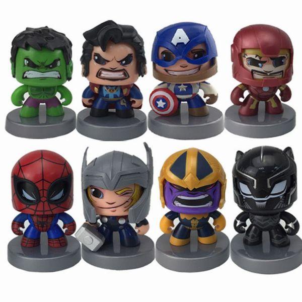Promoção Xmas Presente O Vingador Marvel Poderosa Muggs Pode Mudar o Rosto Homem Aranha, Thanos, Hulk, Homem De Ferro, Capitão América Action figure Brinquedos