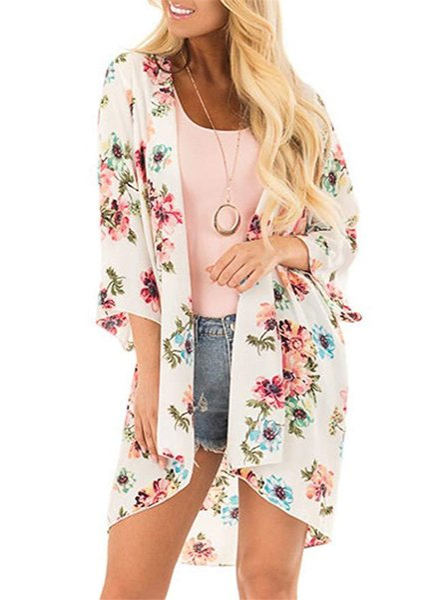 Praia verão chiffon protetor solar blusa floar impresso manga longa capa mulheres moda solto casaco evitar roupas bask
