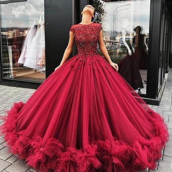 Burgonya Prenses Balo Resmi Modelleri 2020 Kabarık Çiçek Dantel Boncuklu Liastublla Tasarım Dantel Tutu Tam boy gece elbisesi giymek