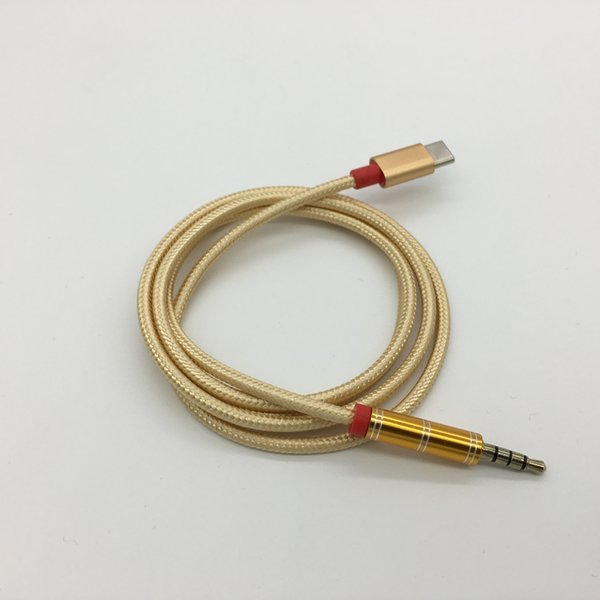 Type-C USB Cable Male To Audio 3.5mm Earphone Braided Car Stereo AUX Audio Cable Cord Adapter For Tyoe-C Smartphone Huawei Samsung Xiaomi