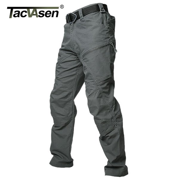 TACVASEN Tactical Cargo Pants Men Summer Straight Combat Army Pants Cotton Many Pockets Stretch Security Trousers Men