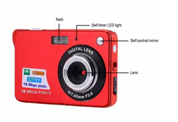 Cheap 18MP 2.7 Inch TFT LCD Digital Cameras Video Recorder 720P HD Camera 8X Zoom Digital DV Anti-shake COMS HD Video Recoding 3 Colors