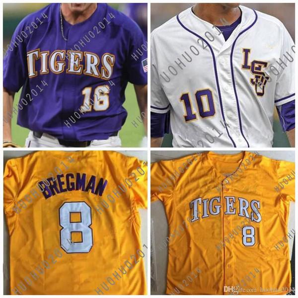 Трикотажные изделия для бейсбола LSU Tigers College CWS DJ LeMahieu Алекс Брегман Нола Гаусман Aaron Hill Custom Jerseys Фиолетовый Желтый Белый
