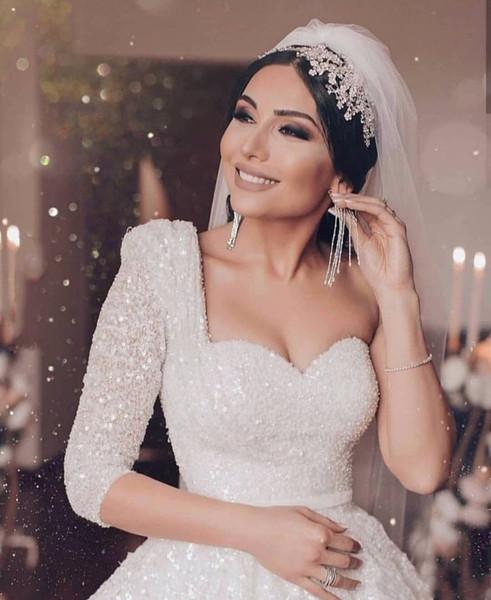 2020 Dubai Saudi Arabia A-Line Wedding Dress Luxury Beading Sequined Vestido De Noiva Vintage One Shoulder Wedding Gowns