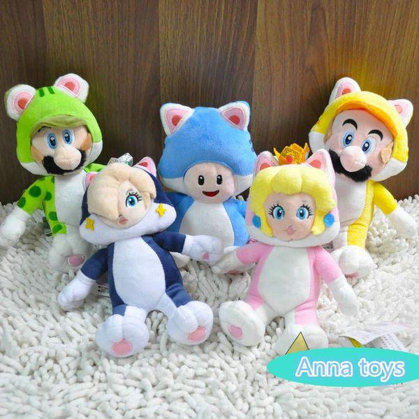 5pcs/lot 20cm Super Mario 3D world Peach Mushroom Stuffed & Plush Doll Toy model cat style princess mushroom toys baby kids gift