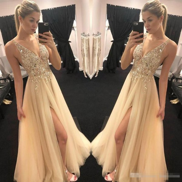 Elie Saab Sparkly Gold Champagne Prom Dresses 2019 Sexy V neck Beaded Sequins Front Split Formal Celebrity Evening Gowns Robe De Soiree