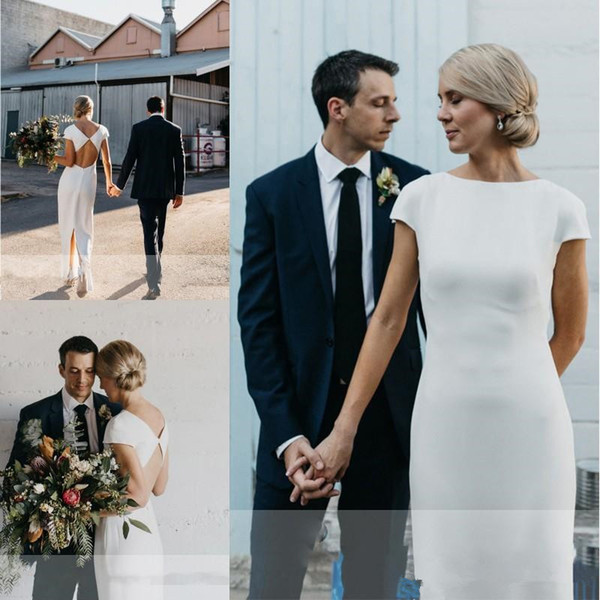 Простой дизайн Русалка богемные свадебные платья 2019 Jewel Шея замочная скважина назад полная длина Летний отдых на пляже Труба свадебное платье