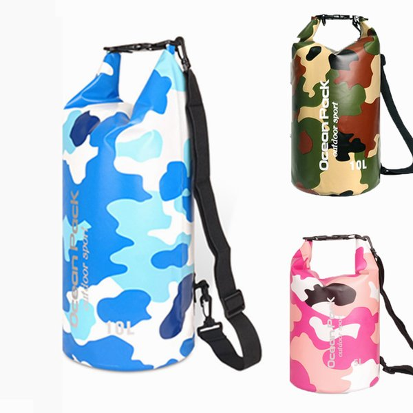 Waterproof Dry Bag Lightweight Backpack with Handle Shoulder Straps Floating Dry Storage Container Camouflage Swimmming Bags Gifts M233Y