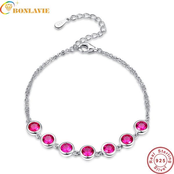 BONLAVIE 7 pezzi creati con rubini rossi reali in argento sterling 925 con braccialetti con ciondoli per gioielli da donna con bracciale tondo