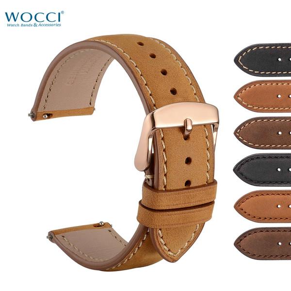 WOCCI Assista Bandas Com o Pino de Liberação Rápida Para Relógios De Luxo Rose Ouro Fivela Camurça Crazy Horse Reloj Pulseira de Couro 18mm 20mm 22mm