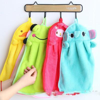 Cartoon Hand Towel For Soft Coral Velvet Home Dish Rag Cloth Kitchen Hanging Cleaning Tools