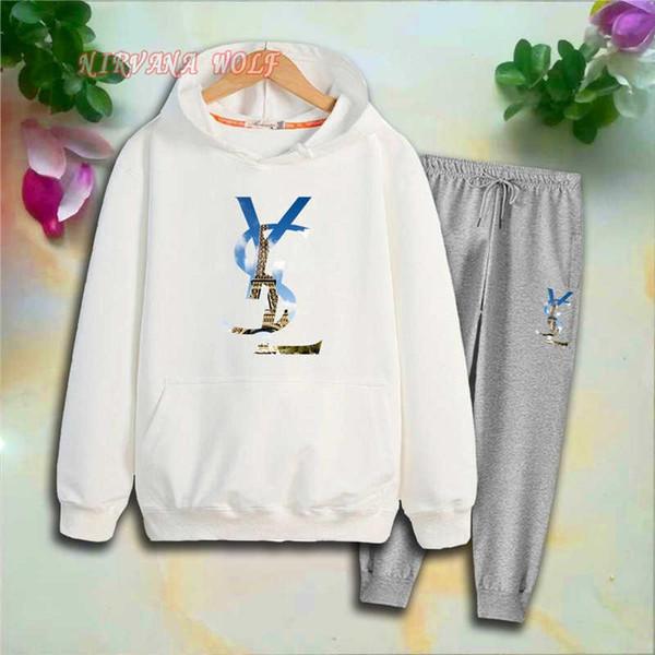 YVSLR Children Sports Sets Kids Sets 2-7T Kids Hoodies Pants 2Pcs/set Baby Boy Girl Pure Cotton Pant Sets Eiffel Tower Printing Spring