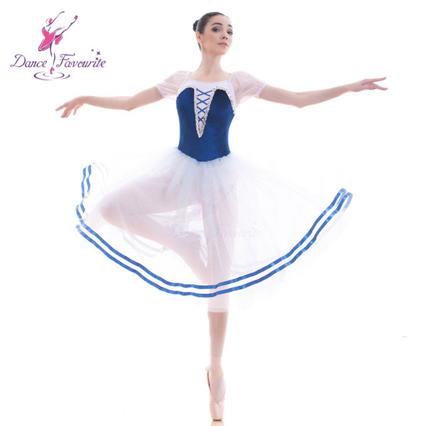 18702 tutu do bailado azul para as mulheres Meninas do desempenho do Ballet tutu vestido romântico longo de bailarina traje dancewear dança