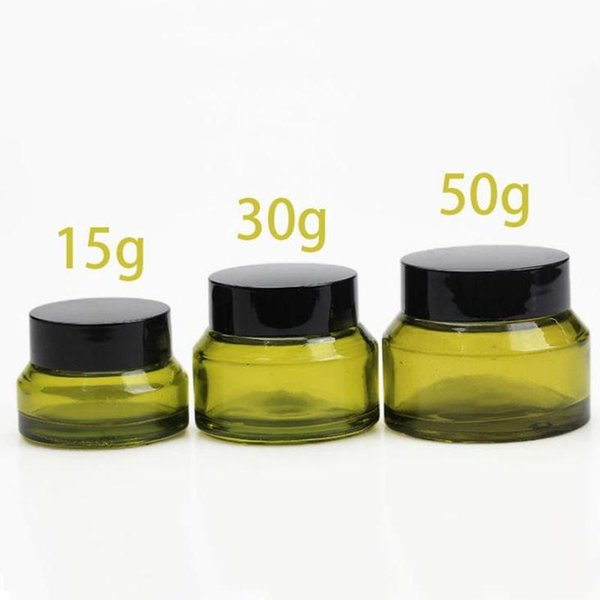 300pcs 15g 30g 50g Green Glass Cream Jar With Lids Empty Glass Container Cosmetic Packaging Glass Cream Pot
